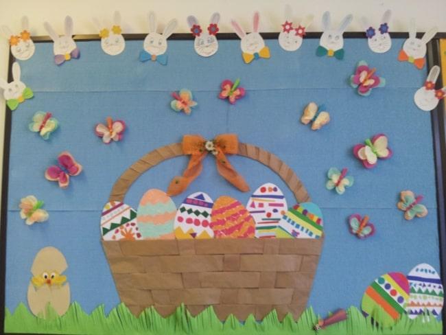 Painel de Páscoa para escola com cesta de ovos15