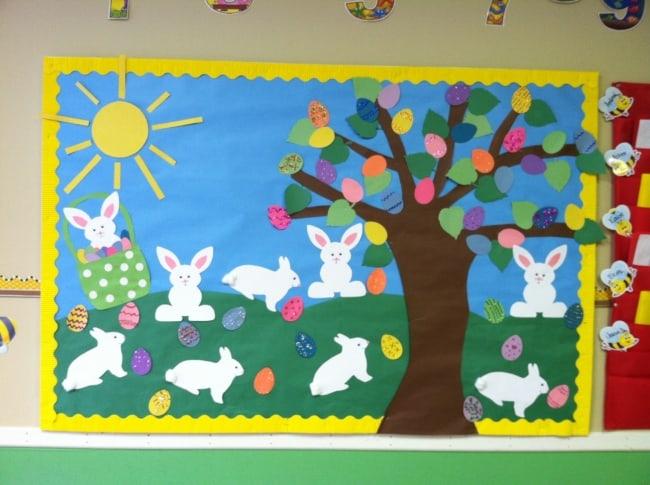 Painel de Páscoa para escola com coelhinhos18