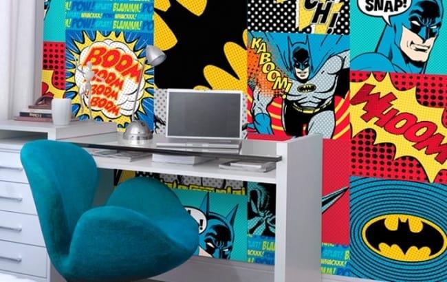 Papel de parede de heróis para decorar escritório