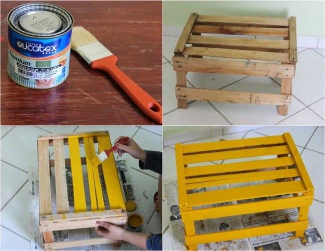 Pintura de caixote de madeira