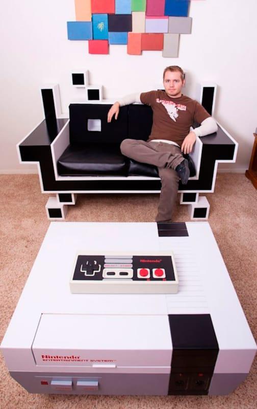 Poltrona e mesa de centro para sala gamer