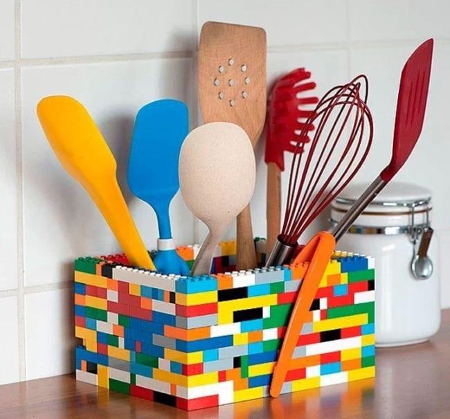 Porta talheres de lego para cozinha