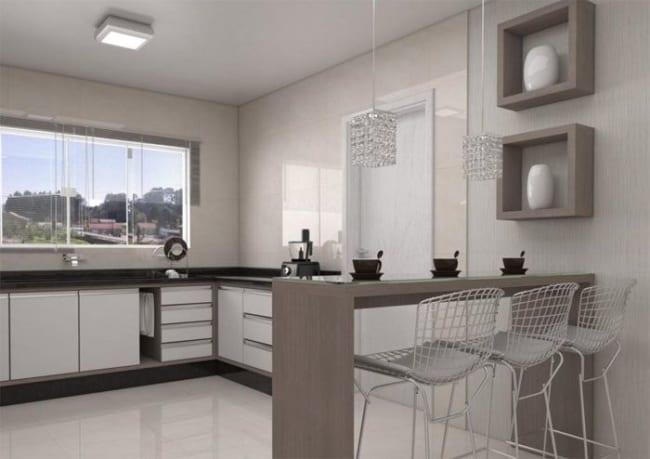 Projeto de cozinha americana com janela