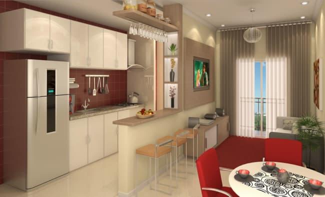 Projeto de decoração de sala com cozinha americana
