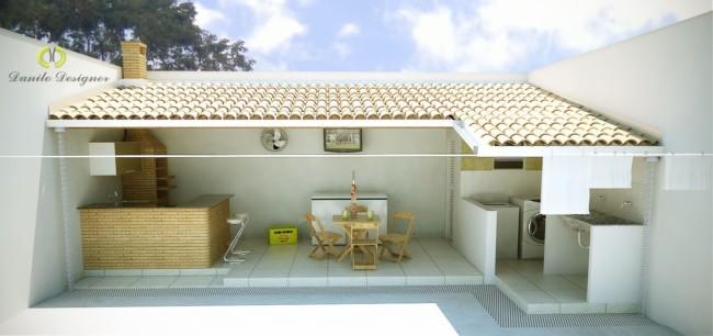 Projeto de varanda gourmet com churrasqueira e lavanderia