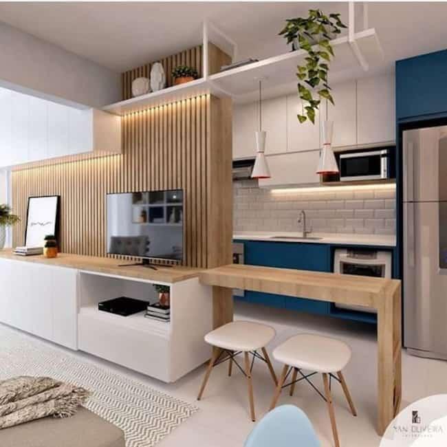 Sala e cozinha americana moderna planejada