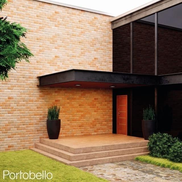Tijolo na fachada de casa moderna