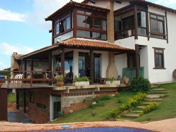 casa rustica com lareira de tijolo