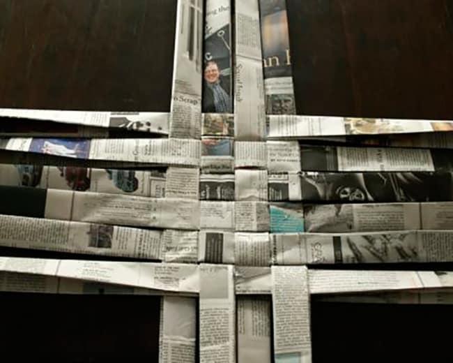 cesta de jornal quadrada base