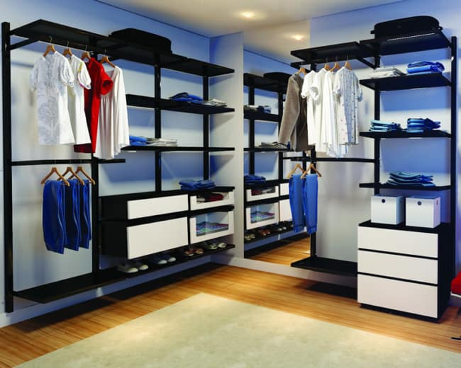 closet em L com prateleiras