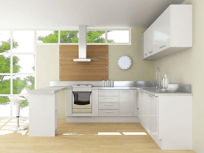 cozinha clean com Fogão de Embutir