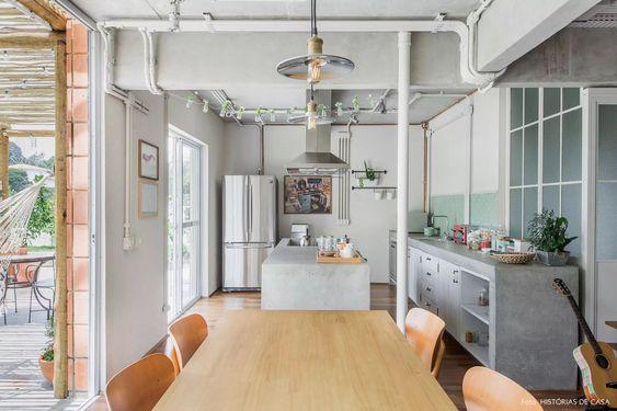 projeto com Tubulação aparente na cozinha