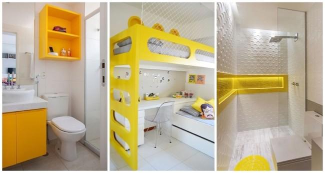 decoração em amarelo e branco