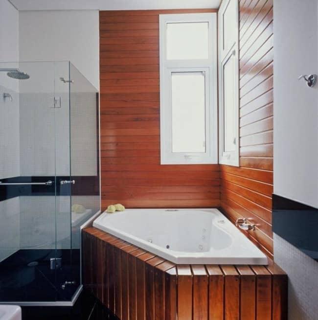 banheira pequena de canto com hidromassagem