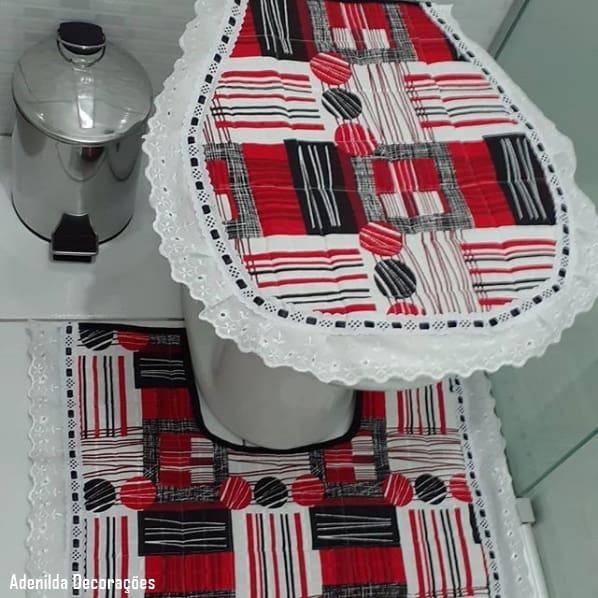 conjunto de banheiro em tecido