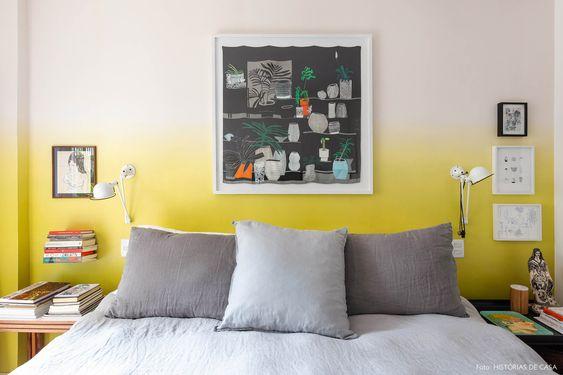 quarto com parede degradê amarela