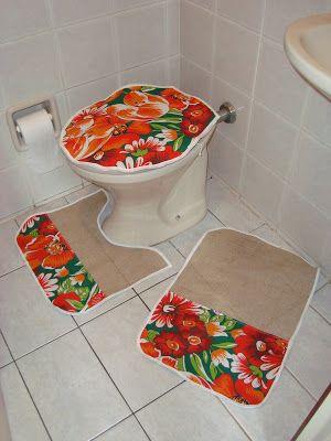 conjunto de tapetes de banheiro de chita