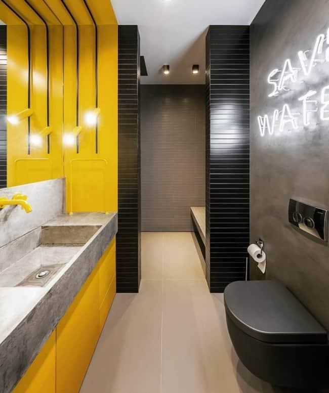 banheiro moderno em amarelo e preto