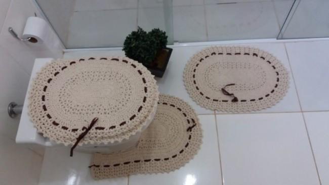 conjunto de tapetes de barbante simples para banheiro