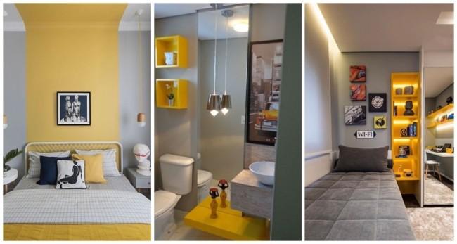 decoração em amarelo e cinza