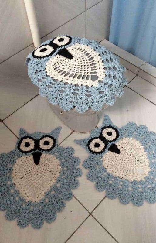 conjunto de coruja para decoração do banheiro