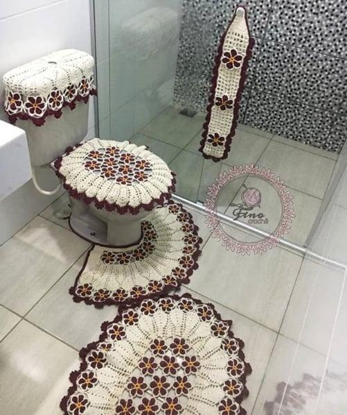 jogo de tapetes para banheiro com flores
