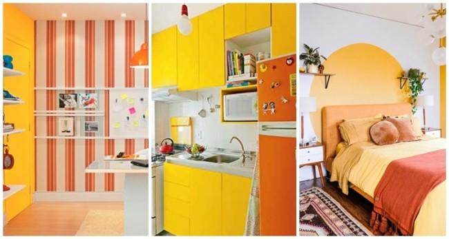 decoração em amarelo e laranja