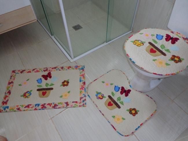conjunto de banheiro de patchwork