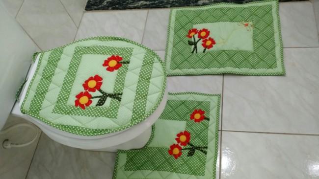 tapete de patchwork para banheiro