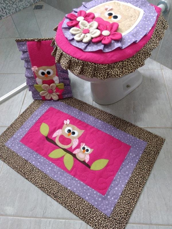 conjunto em patchwork para decorar banheiro