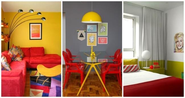 casa decorada em amarelo e vermelho