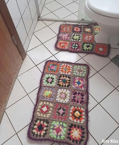 conjunto de banheiro de crochê square