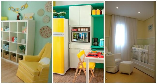 decoração em amarelo e verde