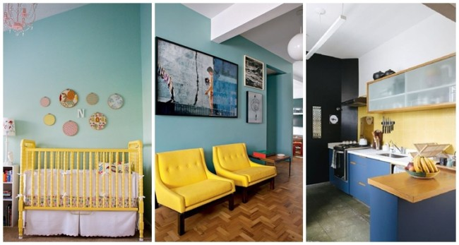 decoração em amarelo e azul