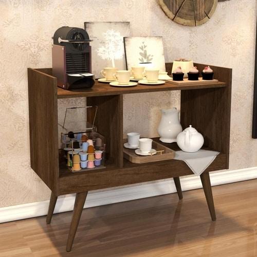 Aparador super versátil em madeira para fazer o bar e cantinho do café
