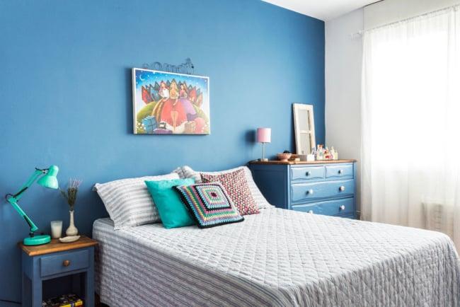Azul é uma das melhores cores de parede de quartos