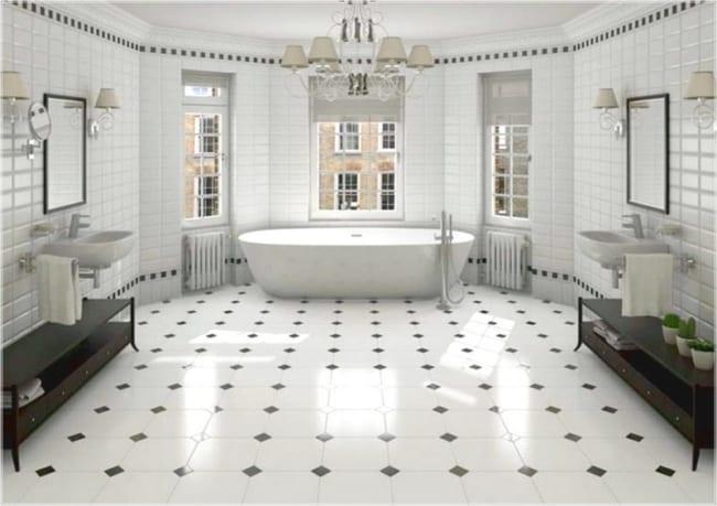 Banheiro amplo com piso p e b