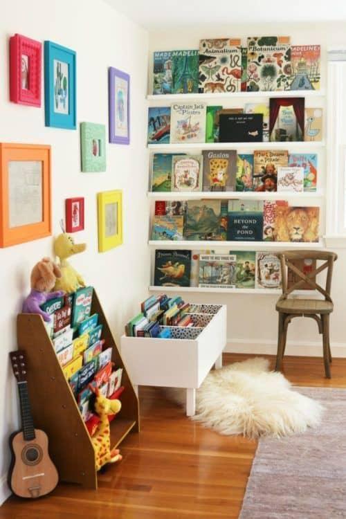 Cantinho da leitura infantil decorado com pelucias60