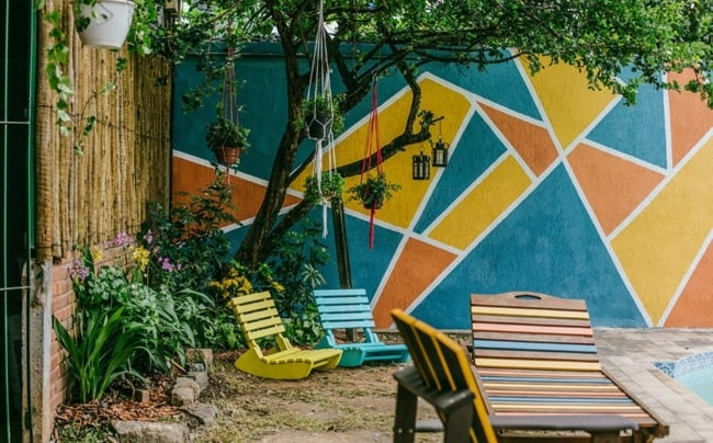 Combinação de cores diferentes na varanda