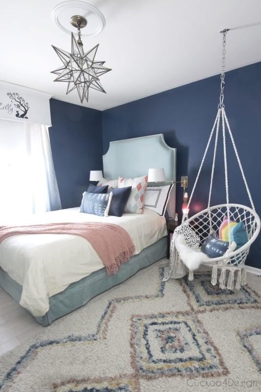Dá para fazer uma decoração azul para quartos de meninas