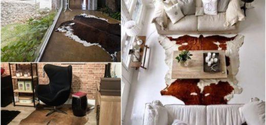 Decoração com tapete de couro