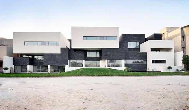 Decoração de fachada paredes pretas e brancas
