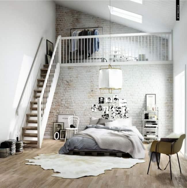 Decoração estilosa para quarto com tapete de couro