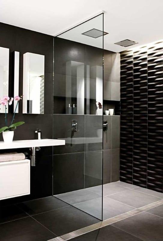 Dica de banheiro moderno em preto e branco