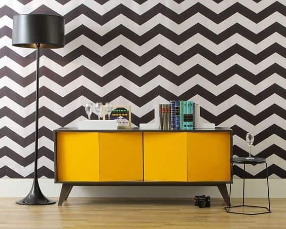 Dica de decoração estilosa com aparador diferente amarelo