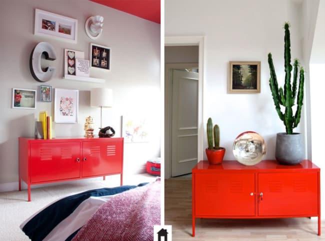 Duas ideias de decoração com aparador vermelho