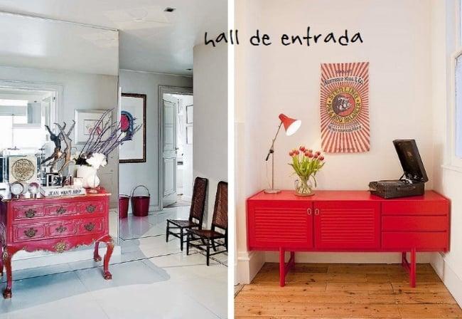 Hall de entrada com lindos aparadores vermelhos