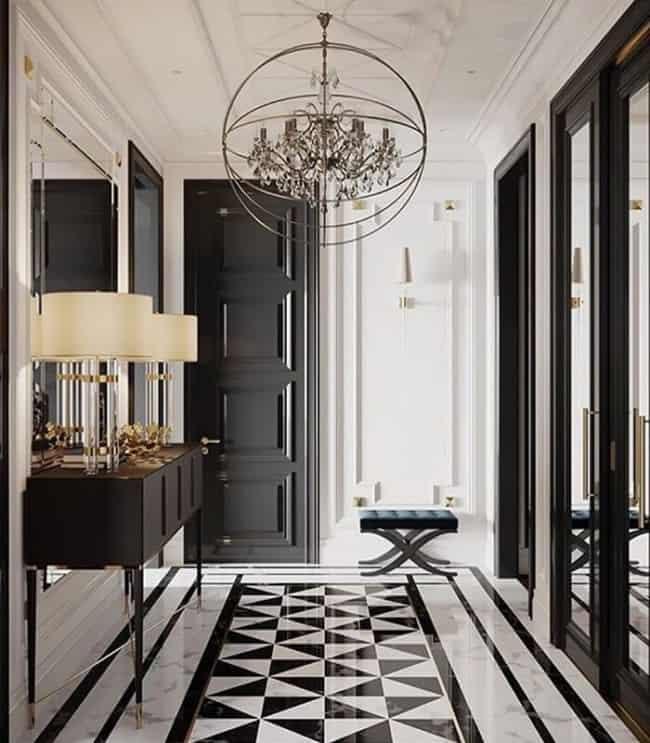 Ideia de piso de mármore branco e preto