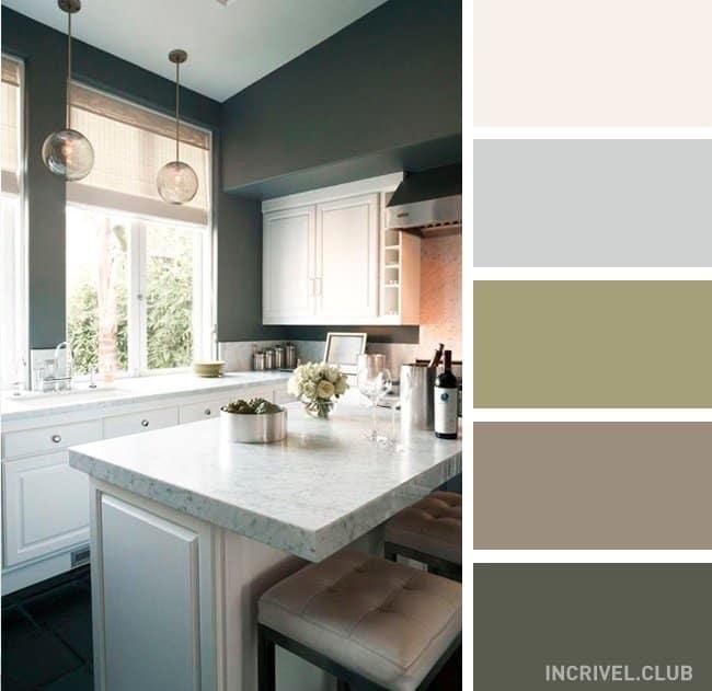 Paleta escura para cozinha com móveis brancos