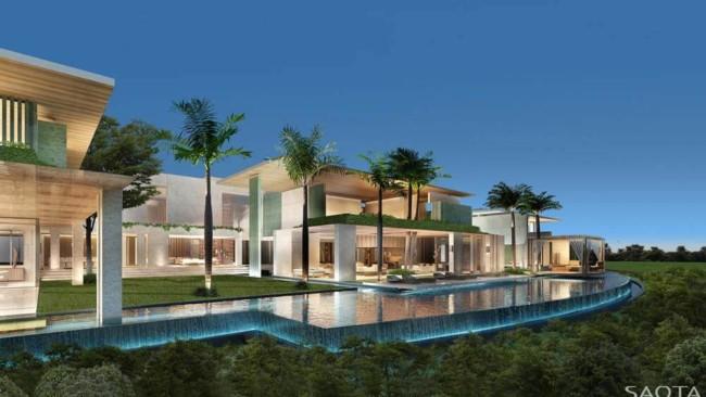 Piscina com borda infinita na mansão de luxo moderna